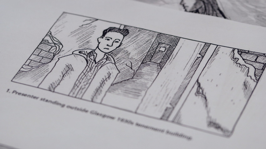 A frame from a storyboard show a man standing in front of an open door.